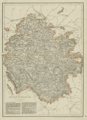 HEREFORDSHIRE antique county map. Showing railways & exclaves. WELLER 1863