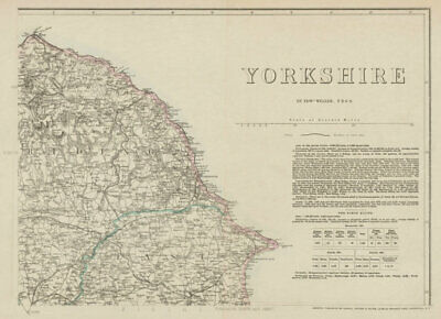 YORKSHIRE NORTH EAST COAST. Bridlington Scarborough Whitby. WELLER 1863 map