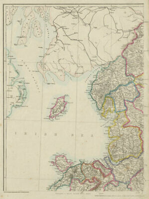 ENGLAND & WALES NW. Cumbria Lancashire Welsh coast Isle of Man. WELLER 1862 map