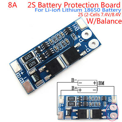 2S 8A 7.4V balance 18650 Li-ion Lithium Battery BMS charger protection board IU