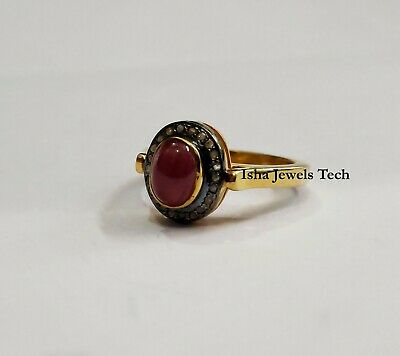 Natural Rose Cut Diamond & Red Jade Gold & 925 Sterling Silver Victorian Ring