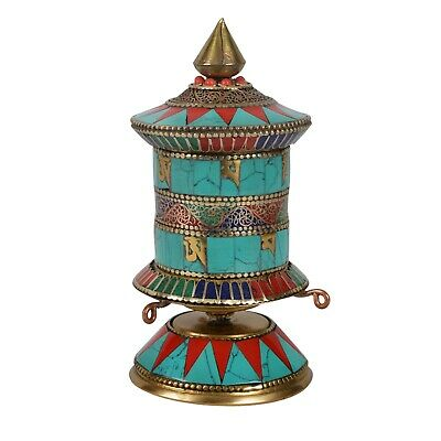 "Tibetan 5.5"" Turquoise Coral Table Spinning Wheel Table Prayer Wheel £3216"