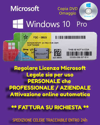 Windows 10 PRO LICENZA ORIGINALE 32 64 Bit CON DVD ALLEGATO OMAGGIO | + Sticker