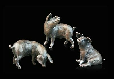 Three Little Pigs Solid Bronze Foundry Cast Sculpture by Michael Simpson [776]