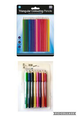 8 Colouring Pencils with Grippers Soft Grips 15 Triangular Drawing Pencil School