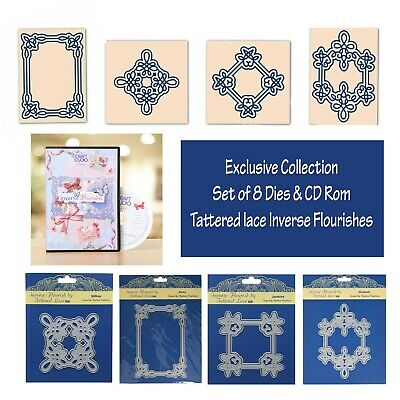 Tattered Lace Inverse Flourish Collection Folder of 8 Dies & CD Rom