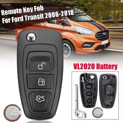 3 Buttons Remote Case Key Fob VL2020 Battery For Ford Transit Custom 2006+