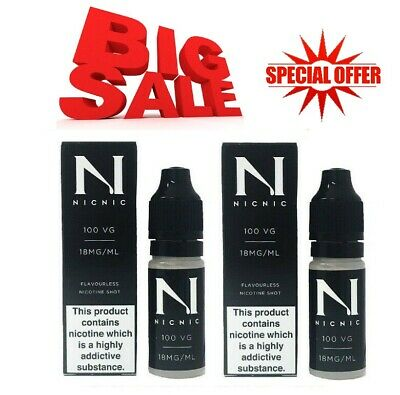 NICOTINE SHOTS BY Nic Nic 18MG 1.8% UNFLAVOURED NICOTINE SHOT 100% PG/VG