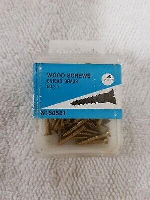 "SALE 50x 1"" 6g, slot head Solid Brass Wood Screws, C/S, NOS slotted"
