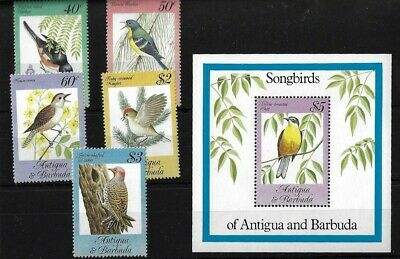 Antigua Sg869/73 + Ms874, 1984 Songbirds Complete Mnh