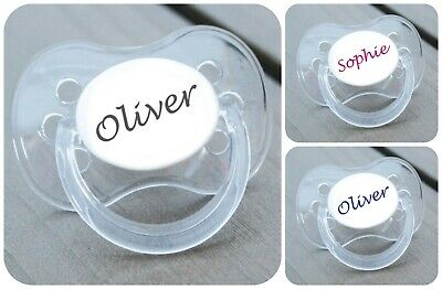 ALL TEATS,SIZES /& COLOURS PERSONALISED DUMMY PACIFIER SOOTHER CONNETICUT FONT