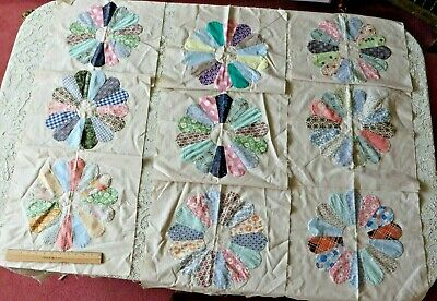 """9  Vintage American Dresden Plate Hand Sewn 16"""" Quilt Squares"""