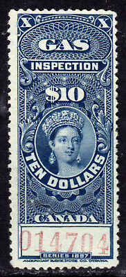 Canada Gas Inspection #Fg26 $10 Blue,1897 Qv, Unused