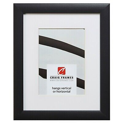 Craig Frames 1WB3BK 8.5x11 Black Picture Frame Matted to Display a 6x9 Photo
