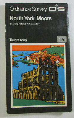 1972 Old Vintage OS Ordnance Survey One-Inch Tourist Map North York Moors
