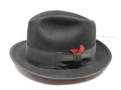 3f75604fa066a Vintage Royal John B Stetson Size 7 1 4 Black Fedora With Feather Classy L