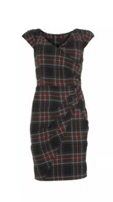 WAREHOUSE TARTAN WIGGLE PENCIL DRESS VINTAGE 40s 50s HOLLYWOOD STARLET SIZE 10