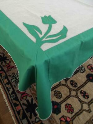 Vintage White Organdy Green Tulips Applique 50x70 Tablecloth