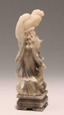 Chinese Soapstone Figure of a Woman with Flower Basket       #308