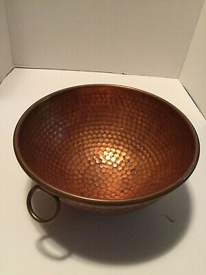 Antique Vintage Copper Bowl Beaten Hammered Round Bottom Hook Rolled Edge Hook