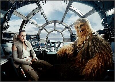 Star Wars Chewbacca Rey Millennium Falcon Large Poster Art Print A0 A1 A2 A3 A4