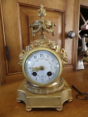 French Ormolu Mantle Clock In Original Condition Fully Serviced With Keys 1890s