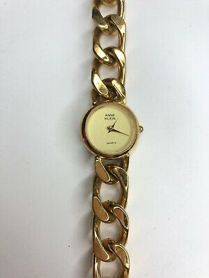 E Anne Klein Gold Tone Chain Watch Japan Movt Quartz Vtg Retro Needs Battery