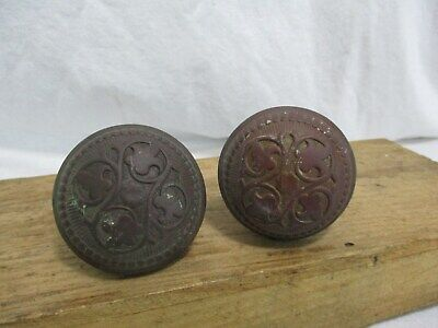 Antique Victorian Ornate Brass / Bronze Door Knob Set Original Old Eastlake