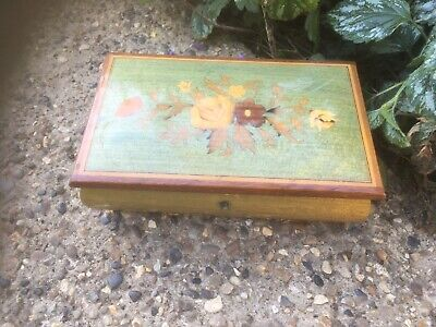 Vintage Musical Box Ornately Inlaid With Swiss Movement Jewellery Box