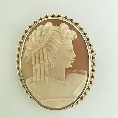 Vintage Retro 14K Yellow Gold Portrait Hand Carved Shell Cameo Brooch Pendant