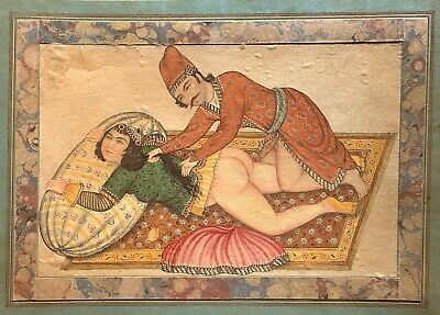 Antique Islamic Art Qajar 19th Century Erotic Miniature Painting Making Love