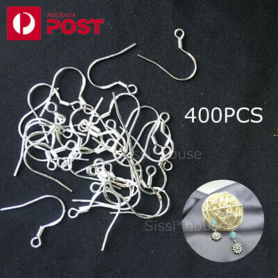 400PCS 925 Sterling Silver Earring Hooks Wire 200pcs Hypoallergenic Ear Wire DIY