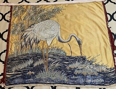 """Antique Chinese Hand Embroidery Qing Dynasty Panel 34"""" X 40"""" See Picture"""