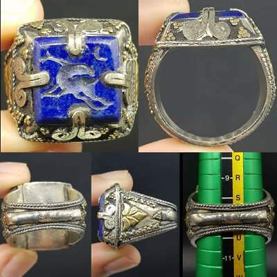 Lovely Unique Deer intaglio Lapis lazuli Stone Old Ring  #13