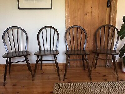 4 X Ercol Windsor Dark Elm Dining Chairs Retro Vintage
