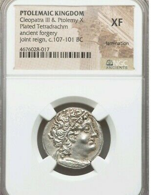 Ptolemaic Kingdom Cleopatra III NGC XF Ancient Coin