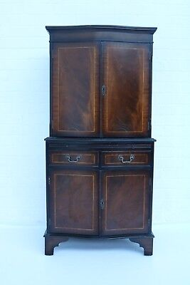 Vintage An Inlaid Mahogany Serpentine Cocktail Cabinet Good Condition !!!