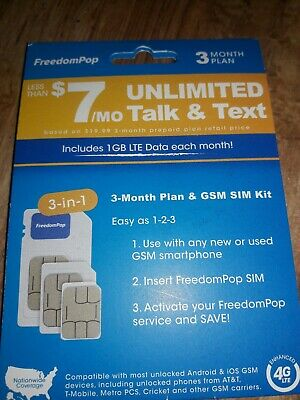 FREEDOMPOP 3-IN-1 4G LTE SIM Card 700MB Pre-activated +