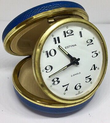 Vintage Estyma Travel Alarm Clock Blue Case Made In Germany 2 Jewel, Working