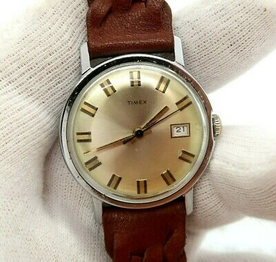 """TIMEX,Manual Wind,Ful-sized ,""""Weave 70's"""" 2-Tone,Leather Band  MEN'S WATCH,2022"""