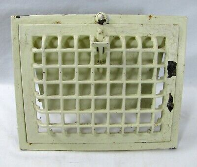 "Vintage Furnace Door Vent Cast Iron Painted 12"" x 10"" Rectangle Opens Closes"