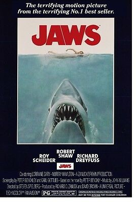 Jaws Movie Shark in Water Poster Print Poster Print Wall Art Memorabilia 24 x 36