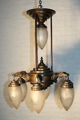 Antique Art Deco Chandelier Hanging Light 7 Fixture LARGE Brass Bronze Light