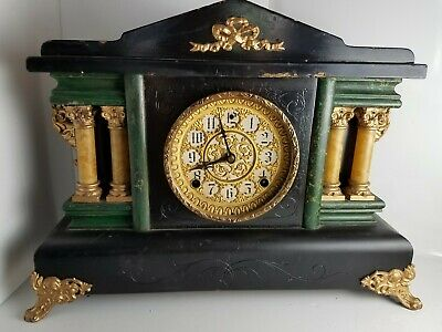 Sessions Eight Day Antique Black Mantel Clock / Movement Cleaned And Overhauled