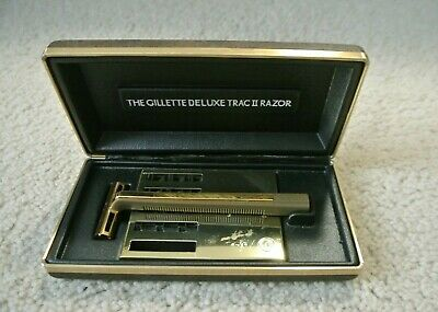 Vintage Gillette Deluxe Trac II Safety Razor Kit in Case with Blades, USA