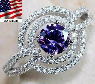Must Have 3CT Amethyst & Topaz 925 Solid Sterling Silver Ring Jewelry Sz 6 PR1