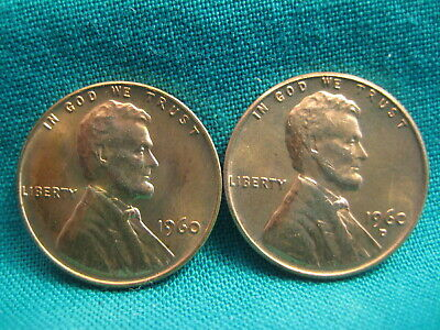 1960-P/D Lincoln Memorial Cents-Large Date-Uncirculated-Lot of 2