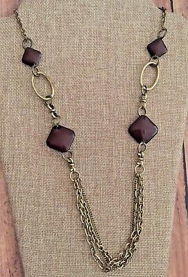 Vintage Gold Tone Chain Square Brown Beads Antiqued Gold Tone