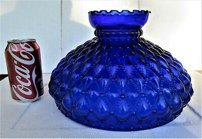 """Large Cobalt Pattern Glass Oil or Electric Lamp Shade 10"""" Fitter"""