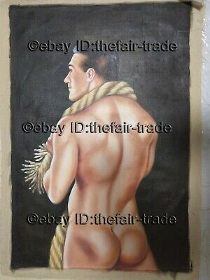 Oil Painting Interest Gay Muscle Rope Sailor Naked Man Male Nightclub Glamour